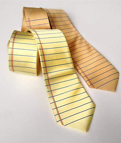 College Ruled Silk Necktie. Notebook Paper Print Tie