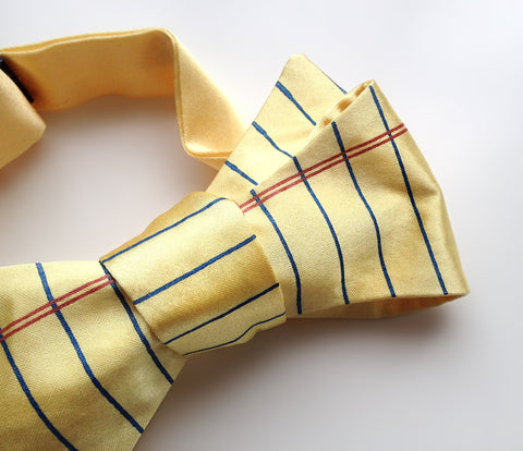 College Ruled Bow Tie. Lined Paper bowtie.