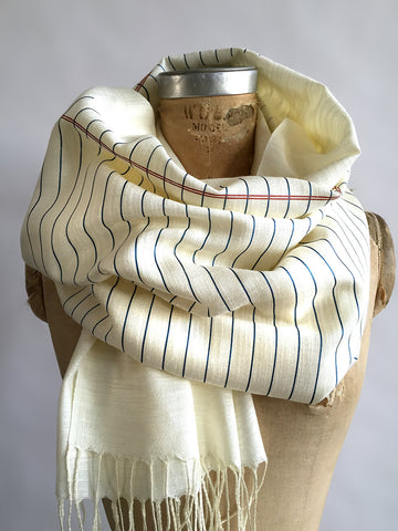 College Ruled Scarf. Lined Paper linen-weave pashmina