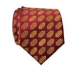 Burgundy and Yellow Coney Dog Print Necktie, by Cyberoptix