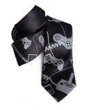 Video Game Necktie: Dove grey print on black.