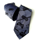 Game Controller Necktie: Black print on gunmetal.