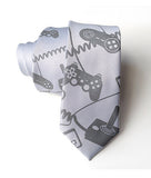 Video Game Necktie: Dove grey print on aluminum.