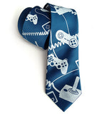Game Controller Necktie: Ice print on french blue silk.