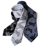 Video Game Neckties: Dove on black & aluminum; black ink on gunmetal.