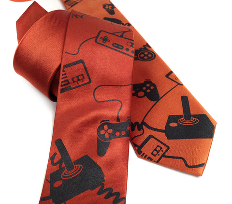 "Video Game Controllers silk necktie. ""Control Freak"" tie."