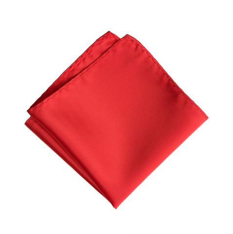 Coral Orange Pocket Square. Solid Color Satin Finish, No Print