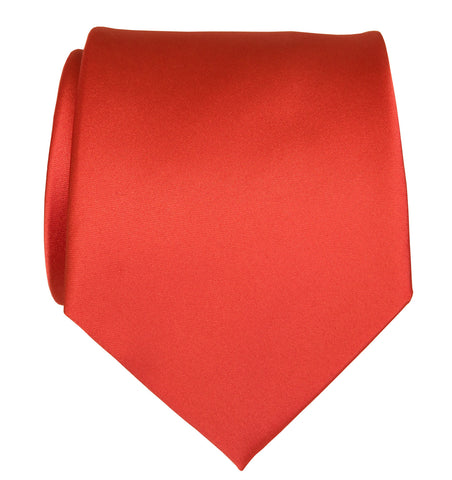 Coral Orange Necktie. Plain Solid Color Satin Finish Tie, No Print