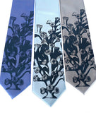 Coral Reef Necktie. Cobalt on periwinkle, sky and silver