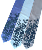 Coral Reef Tie. Cobalt on periwinkle, sky and silver