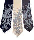 Coral Reef Tie. Pale grey on navy, cream, charcoal.