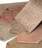 Cottage Lace Necktie. Warm cream on pale copper, dark salmon, salmon, peach, champagne, honey microfiber.