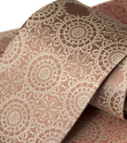 Cottage Lace Necktie. Warm cream on peach.