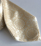 Cottage Lace Necktie. Warm cream on ivory.