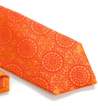 Orange lace necktie. Dark coral ink on pumpkin silk.