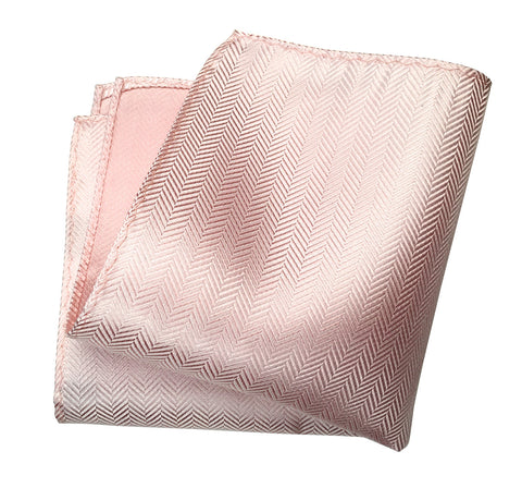 Cotton Candy Pink Herringbone Silk Pocket Square