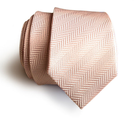 Cotton Candy Pink Herringbone Silk Necktie