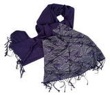 Navy blue Crashing Waves pashmina scarf