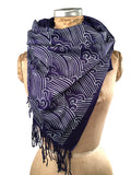 Crashing Waves pashmina scarf, dark blue