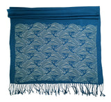 teal blue crashing waves scarf
