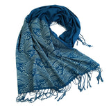 Crashing Waves scarf, teal blue
