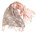 Crashing Waves scarf, navy on blush
