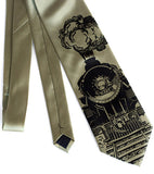 Locomotive Necktie. Black on sage.
