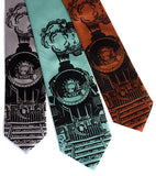 Cyberoptix Train Ties. Black on silver, aqua, cinnamon.