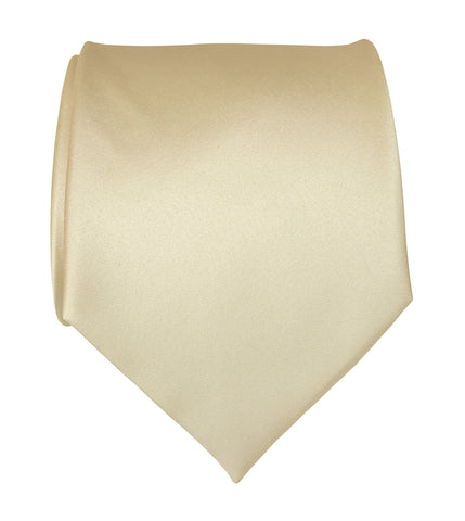 Cream Necktie. Light Tan Solid Color Satin Finish Tie, No Print