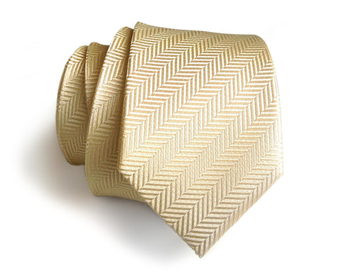 Cream Herringbone Silk Necktie