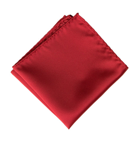 Crimson Red Pocket Square. Solid Color Satin Finish, No Print