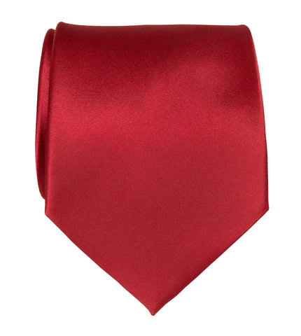 Crimson Red Necktie. Solid Color Satin Finish Tie, No Print
