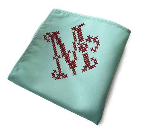 Initial Pocket Square. Personalized Cross Stitch Print Hanky