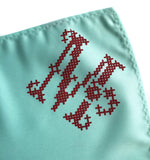 Cyberoptix custom letter pocket square, cross stitch print