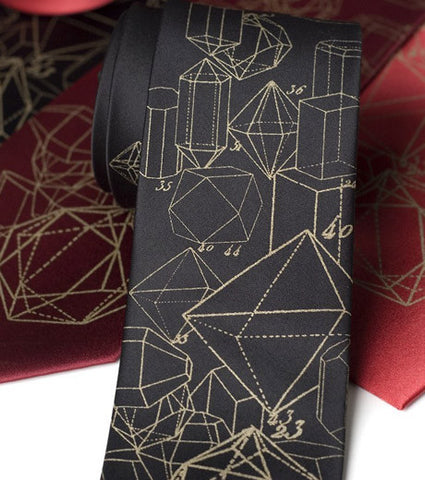 Crystalline Structure Silk Necktie. Crystal Math geology tie
