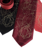 Crystalline Structure Necktie. Antique brass on black, burgundy, rust.