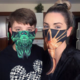 Cthulhu Mask. HP Lovecraft fan, adjustable fabric face covering