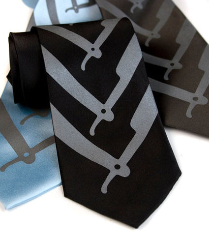 Straight Razor Silk Necktie. Cut Throat Tie