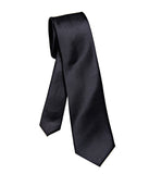 Solid Black slim tie, by Cyberoptix. Vegan plain tie, no print