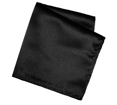 Black Pocket Square. Solid Color Satin Finish, No Print