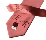 custom monogram wedding necktie, dark salmon pink. Cyberoptix sublimation print groomsmen gifts