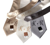custom monogram wedding neckties, neutral tones. Cyberoptix sublimation print groomsmen gifts