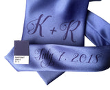 custom monogram wedding necktie, periwinkle blue. Cyberoptix sublimation print groomsmen gifts