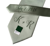 custom monogram wedding necktie, dusty shale, sea foam green. Cyberoptix sublimation print groomsmen gifts