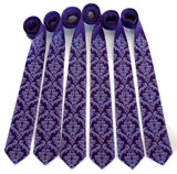 Cyberoptix custom printed wedding ties, purple damask