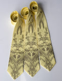 cyberoptix custom printed wedding ties, hops and wheat print on butter yellow