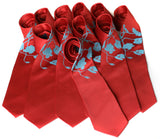 Cyberoptix custom printed wedding ties, Poppy print, turquoise and rust