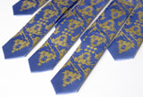 cyberoptix custom printed wedding ties. skinny blue and gold