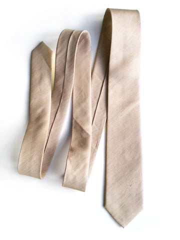 Khaki Linen Necktie. Solid Color Tie, Packard