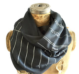 Dark grey library date due slip scarf, luxe weight. Librarian gift by cyberoptix.